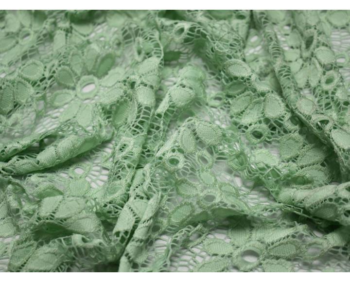 Гипюр стрейч бледно-зеленый 00123