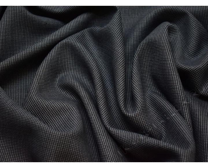Костюмная шерсть серая черная мелкая клетка