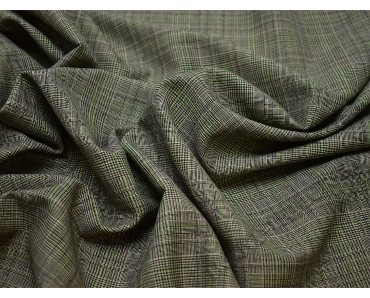 Костюмная шерсть серая с зеленым клетка