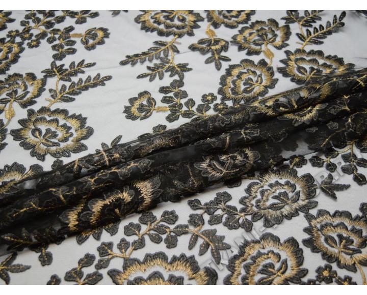 Сетка с вышивкой черная с бежевыми цветами