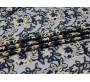 Сетка с вышивкой темно-синяя с бежевыми цветами