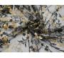 Сетка с вышивкой черно бежевые цветы