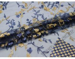 Сетка с вышивкой темно-синие бежевые цветы