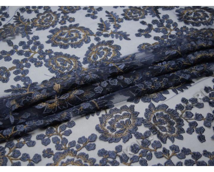 Сетка с вышивкой темно-синие с золотом цветы
