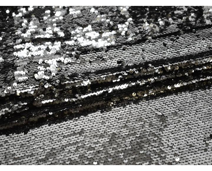 Сетка с пайетками серебристого цвета