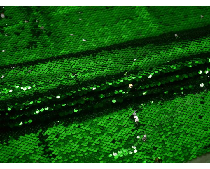 Сетка с пайетками зелено-серебристая