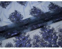 Сетка с вышивкой темно-синие цветы