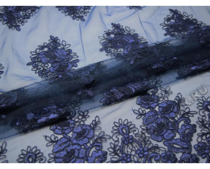 Сетка темно-синяя с вышивкой крупные цветы
