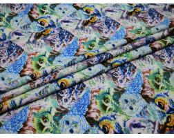 Плательная разноцветная сине-зеленая принт совы