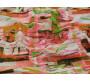 Плательная ткань розово-зеленая с абстрактным принтом