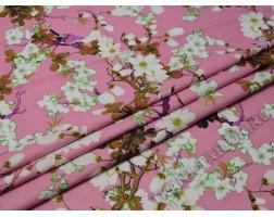 Плательная грязно-розовая с цветами