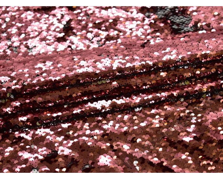 Сетка с пайетками серебристо-розовая