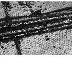 Сетка с пайетками серебристо-черная