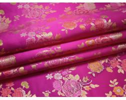Китайский шелк розовый с цветами