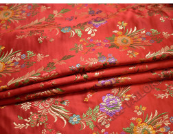 Китайский шелк красный с цветами