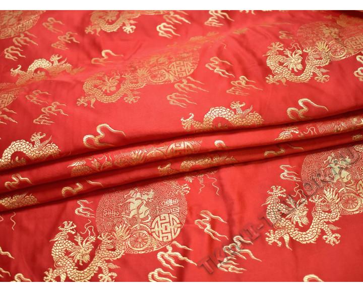 Китайский шелк красный принт с драконами