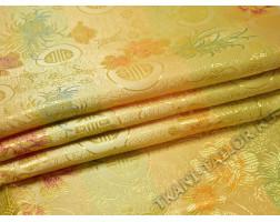 Китайский шелк желтый с цветами