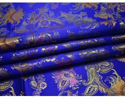 Китайский шелк синий с цветами