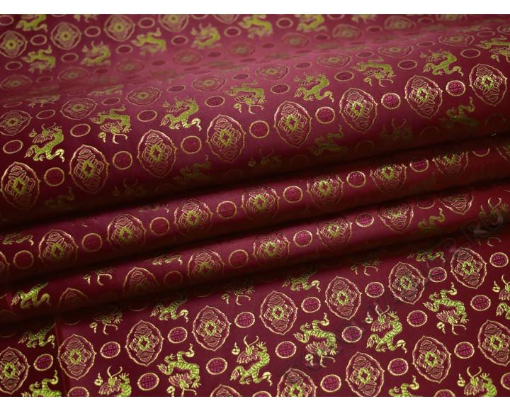 Китайский шелк бордовый абстрактный