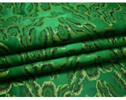 Китайский шелк зеленый с листьями