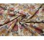 Джинсовая ткань светло-бежевая с цветочным принтом