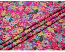 Джинсовая набивная с цветами