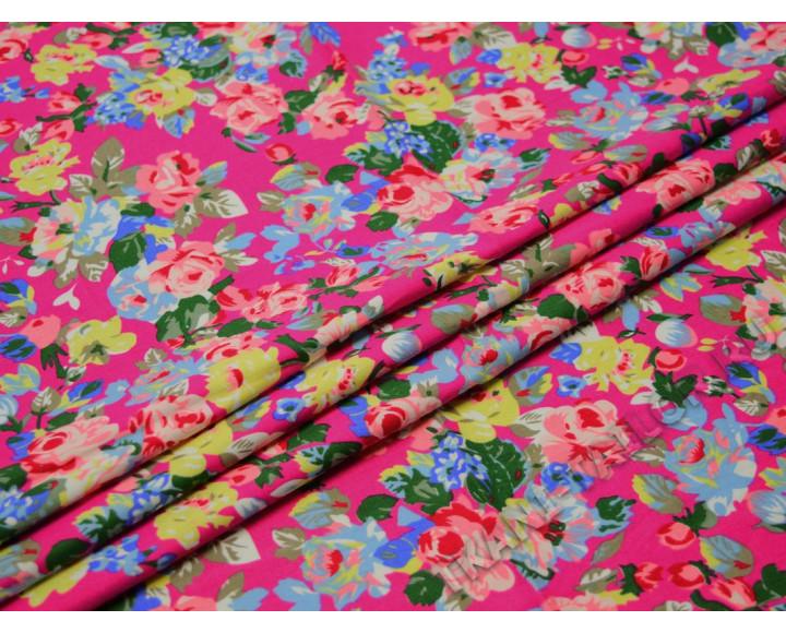 Джинсовая ткань набивная с цветами