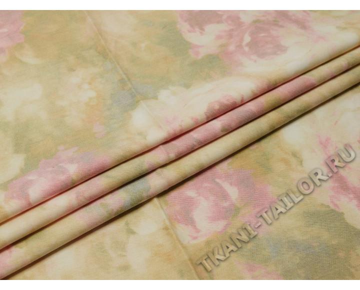 Джинсовая ткань пастельные тона принт розы