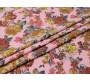 Джинсовая ткань розовая с цветами