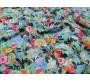 Джинсовая бирюзовая ткань с цветами