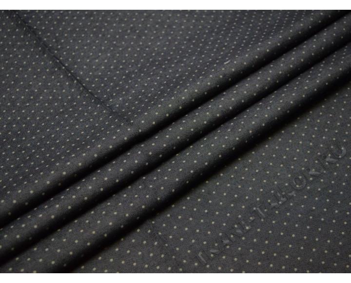 Джинсовая ткань темно-серая горошек