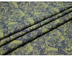 Джинсовая ткань синяя с абстрактным рисунком