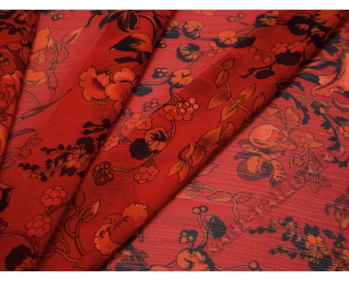 Шифон разноцветный с цветочным принтом