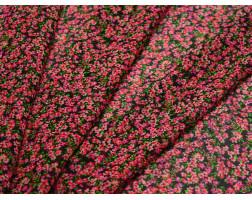 Шифон черный принт мелкие красные цветы