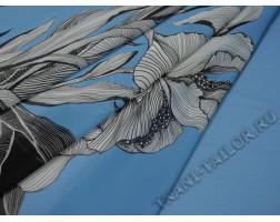 Шифон голубой с цветами