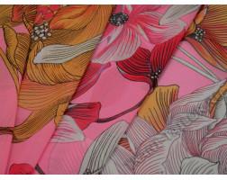 Шифон розовый с цветочным принтом