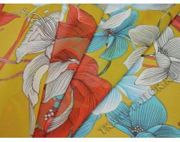Шифон желтый принт крупные цветы