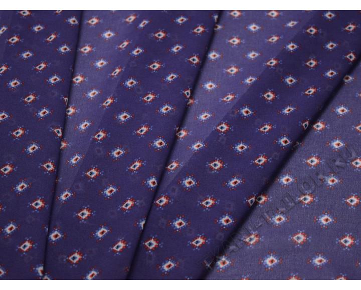 Шифон сине-фиолетовый с абстрактным принтом