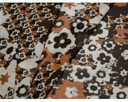 Шифон коричневый в цветочек