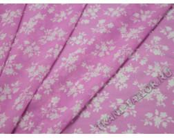 Шифон розовый с белыми цветами