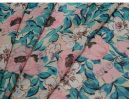 Шифон айвори принт  розово-зеленый цветочный