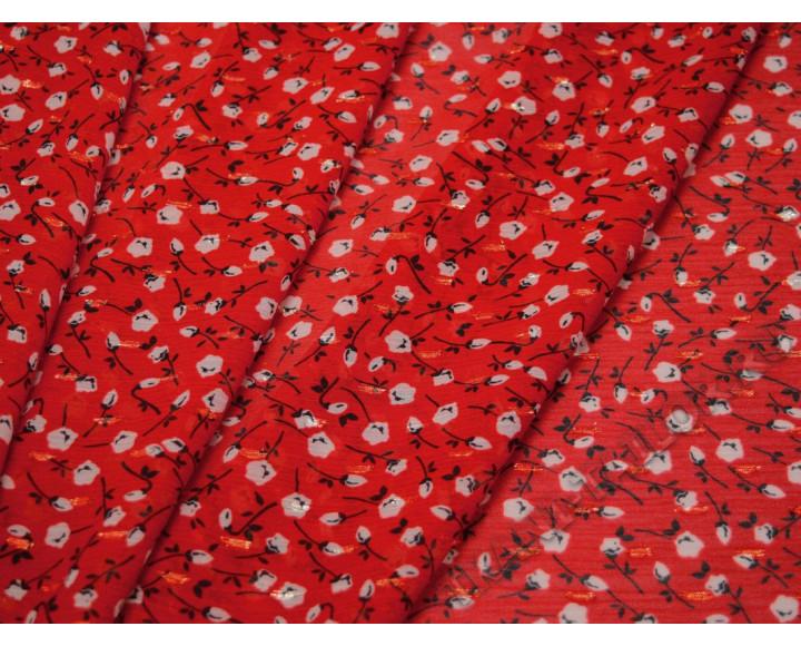 Шифон красный в цветочек