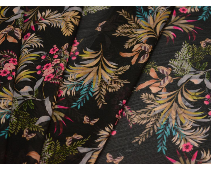 Шифон черный в разноцветный цветочек