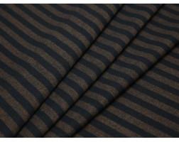 Костюмная ткань в полоску темно-синюю и коричневую
