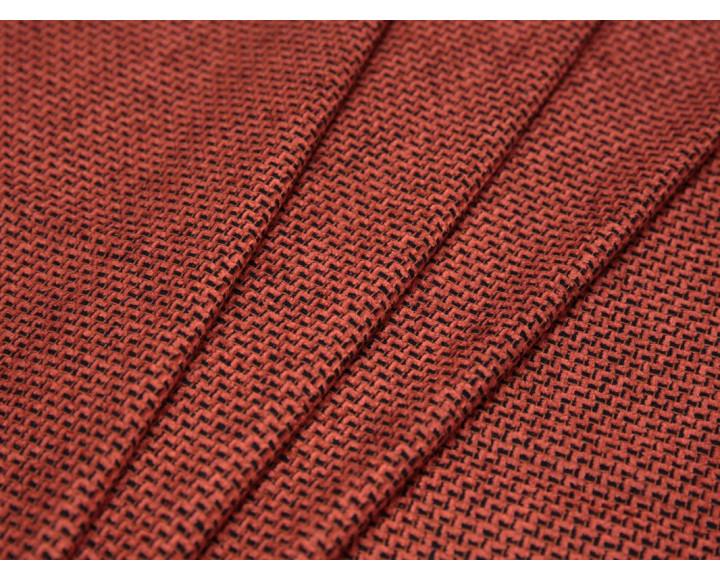 Костюмная ткань оранжевая черный принт