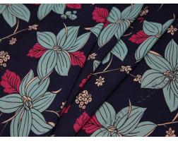 Плательная ткань темно-синяя крупные цветы