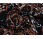 Плательная ткань черная принт коричнево-белый