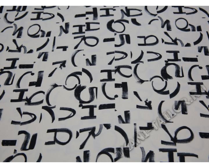 Плательная ткань айвори принт надписи
