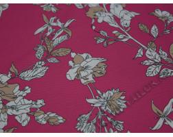 Плательная ткань розовая цветочный принт