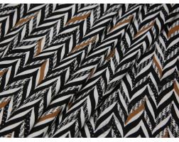 Плательная ткань хлопковая черно-белая принт елочка